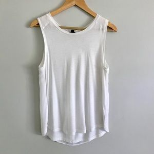 J Crew Chiffon Backed White Tank
